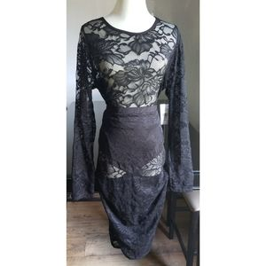 [Fashion to Figure] Black Lace Skirt and Top Set